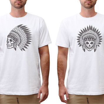 Men Skull wear indian headdress Graphic Printed Cotton T-shirt MTS_00
