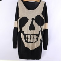 A 083020 bb Skull hollow bat sleeve sweater