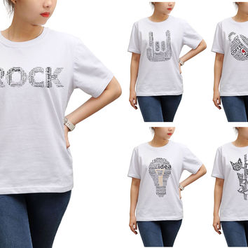 Women Typography Text Printed Round Neck Short Sleeves T- Shirt WTS_17