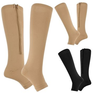 Zip-Up Compression Zipper Leg Support Knee High Stocking Varicose socks Open Toe