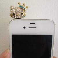Crown Hello Kitty Ear Cap Dock Dust Plug for Apple Iphone Ipod Cell Phone 3.5 Mm