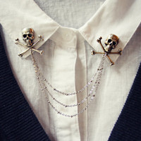 skull collar pins, collar chain, collar brooch, lapel pin, skull pin, skull brooch