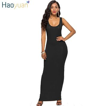 3d493739ef HAOYUAN Plus Size Long Maxi Dress Women Summer Casual Boho Beach Dress  Black White Sexy Evening