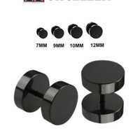 A Pair Top Quality Fake Black Ear Stretcher Plugs Cheater Mens Earrings 7-12mm   eBay
