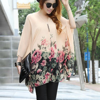 2015 new summer women floral v-neck chiffon dress short sleeve maternity dress One Piece plus size blouse tops t-shirt = 1945972932