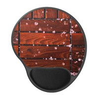 Cool Brown Wooden Ply texture With Wintry Snow Ice Gel Mouse Pad