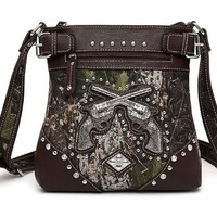 Western Cowgirl Guns Pistol Camo Hipster Messenger Bag Cross Body Purse (Brown)