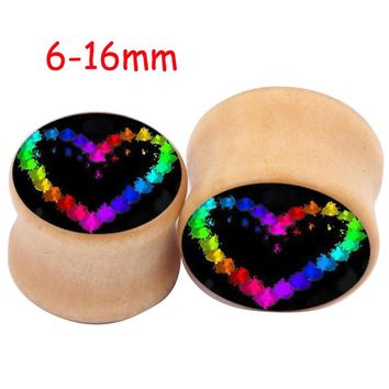 2Piece Choose Size Saddle Ear plug Love Bone Wooden Ear Plugs Concave Punk Rainbow Heart Wood Flesh Tunnel Taper Stretcher