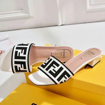 FENDI Women Fashion Casual Heels Shoes Slipper Shoes