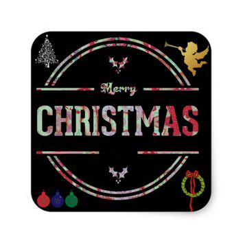 Merry Christmas Greeting Square Sticker