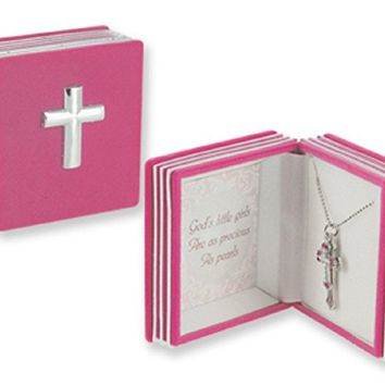 "Childrens Jewelry, Girls Double cross pendant featuring dainty imitation pearls with colorful accents, packaged in a charming keepsake Bible box. Perfect commemorate for a religious event! Laser cut cable chain is 16"" + 2"" extender."
