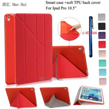 """Smart Case For Ipad Pro 10.5"""" Stand PU Leather Cover 5 Shapes + Soft TPU Silicone Bottom For ipad pro 10.5 inch A1701 + Stylus"""