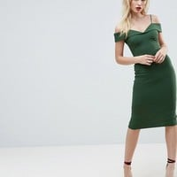 ASOS Scuba Strappy Bardot Pencil Midi Dress at asos.com