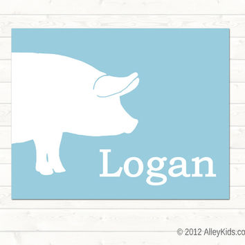 Personalized Pig Art Print
