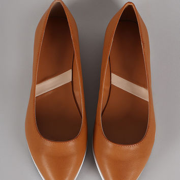 Pointy Toe Contrast Sole Slip On Loafer Flat