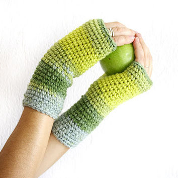 Crochet fingerless mittens gloves, Color block gloves, Bright apple green, lime and grey, Crochet wrist warmers,