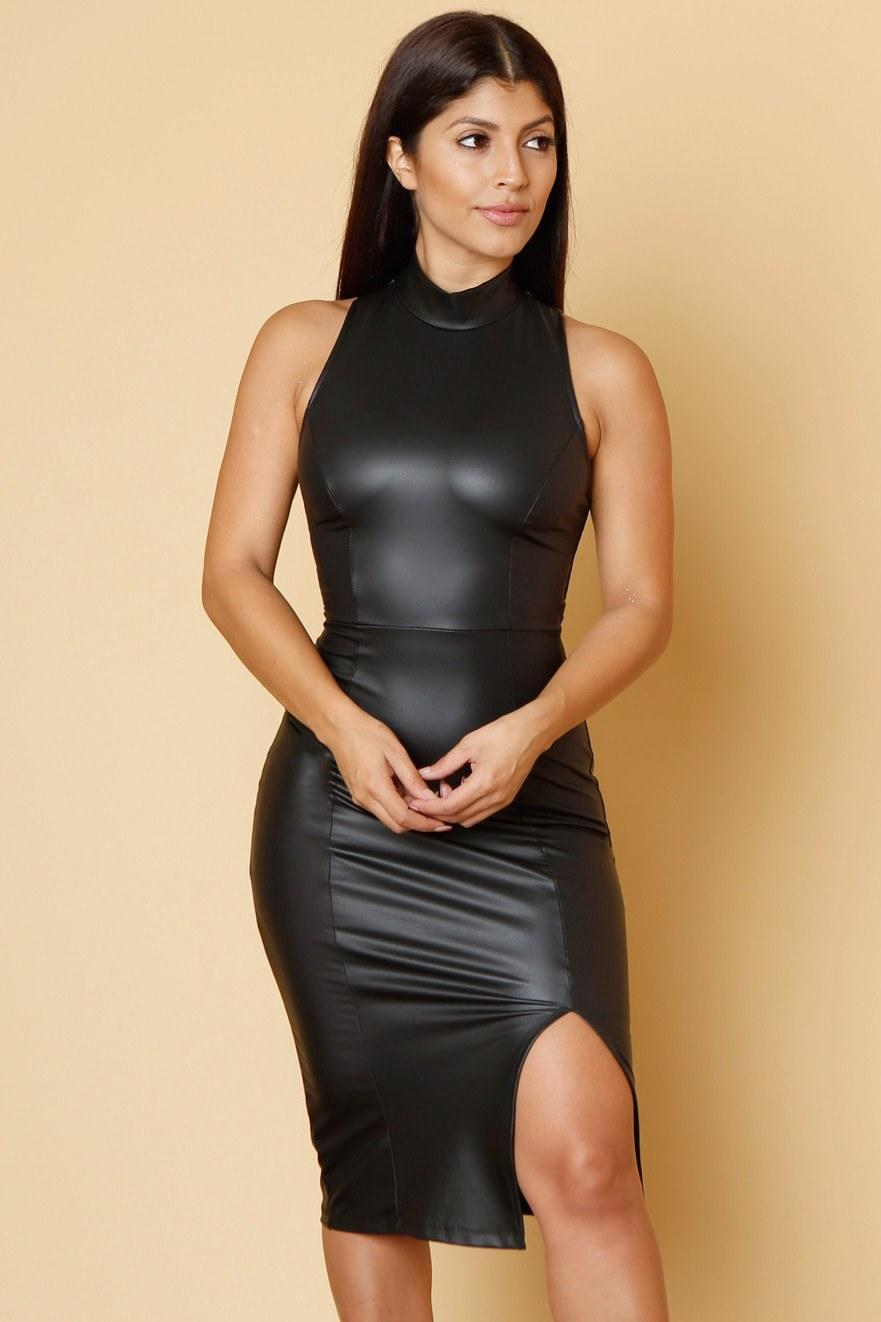 15a92a0d9b07b Just Do It Faux Leather Dress from Fashion Effect Store