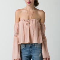 Lawn Off Shoulder Top with Sleeve Trim Patch (more colors)