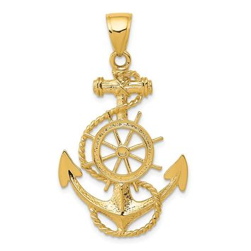 14k Yellow Gold Large Anchor, Ship's Wheel and Rope Pendant