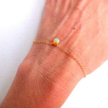 Micro Ethiopian Welo Opal Briolette Handmade Anklet or Bracelet & Oxidized 925 Sterling Silver Rose Gold Fill 14k Gold Chain Mixed Metals