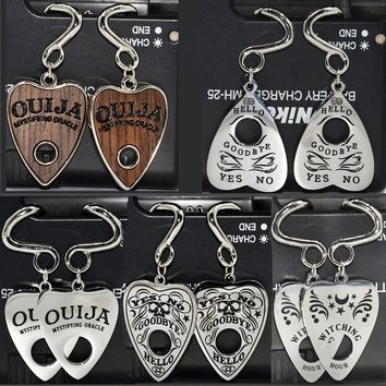 Showlove-1pair Surgical Steel Heart Design Wood Ouija Bend Ear Tunnel Expander Ear Stretcher Ear Weights Body Piercing Jewelry