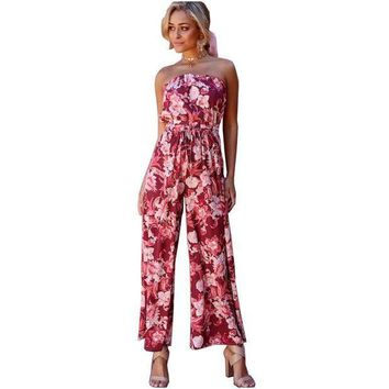 ICIKON3 NYMPH 2018 New Summer Women Jumpsuits Bohemian Wrapped Chest Elastic Waist Female Rompers Sexy Club Printed Overalls Plus Size