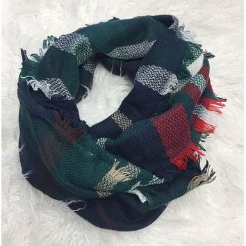 One in a Million Green Multi Plaid Scarf