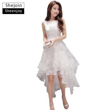 ShejoinSheenjoy Summer Maxi Dress 2017 Women O-Neck Sleeveless Sweet Ball Gown White Organza High Low Evening Party Long Dress