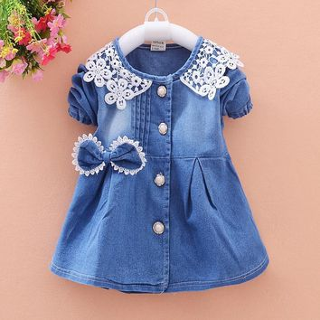 Trendy BibiCola New Spring Baby Coat Kids Jacket For Girl Toddler Denim Overcoat Children Outerwear Girls Costume For Kids Clothes AT_94_13