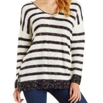 Black/White Slouchy Marled Stripe Sweater by Charlotte Russe