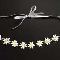Daisy Festival Headband - Coachella Flower Crown, Prom Headband, Festival Accessories, Boho/Bohemian, Lace Hippie Headband, Hair Accessories