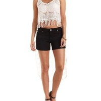 White Extreme High-Low Lace Crop Top by Charlotte Russe
