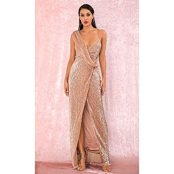Pretty Woman Rose Gold Sequin Sleeveless Drape Cross Wrap Split Front Maxi Dress