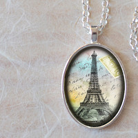 Paris Necklace, Eiffel Tower Pendant, Vintage Altered Art Paris Charm, Oval Necklace (1474S)