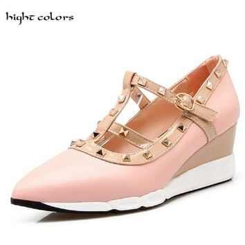 HIGHT COLORS Brand New 2017 Pointed Toe Rivet Wedge Shoes Women Fashion Strap High Heel Ladies Pump Sexy Women Shoes HC625
