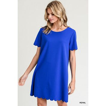 Jodifl solid short sleeve dress with scalloped hem