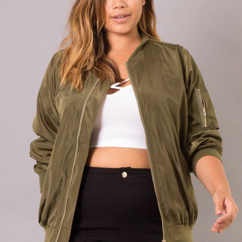 Plus Size Bomber Jacket - Olive