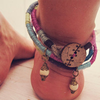 Boho Anklet - Gypsy Foot Jewelry - FREE shipping worldwide - Multistrand African Tribal Anklet - Hippie Organic Jewelry - In Stock