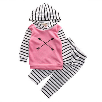 2 Pcs Cross Arrow Baby Girl Pink Hooded Clothing Set Infant Babies Girl Hoodie Tops+ Stripe Pants 2pcs Outfits Clothes Sets