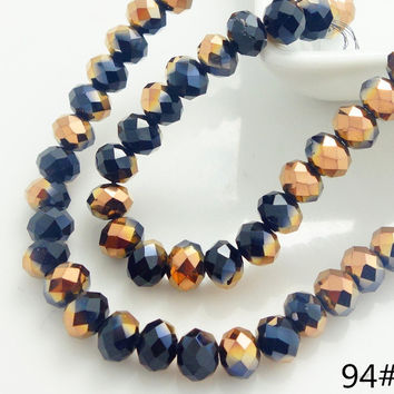 100pcs Rondelle Faceted Crystal Glass Loose Beads 4mm DIY HZ94