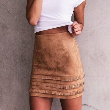 Brown High Waist Tasseled Back Zipped Mini Skirt