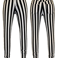 Womens Black&White Vertical Stripe Jeans Skinny Leggings Ladies Jeggings 8-16