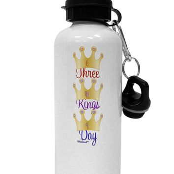 Three Kings Day - C M B Crowns Aluminum 600ml Water Bottle by TooLoud