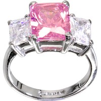 Silver PINK .80 Carat Cubic Zirconia RECTANGLE TRIO Ring