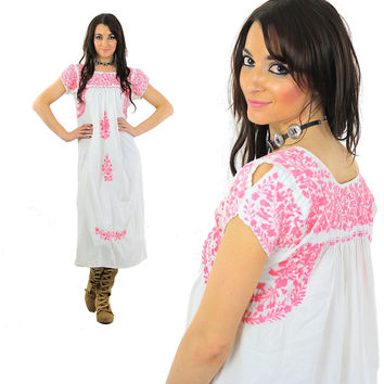 Mexican Embroidered Dress White Maxi Pink Floral Hippie Oaxacan Tent High Waisted Tent Bohemian Medium Large
