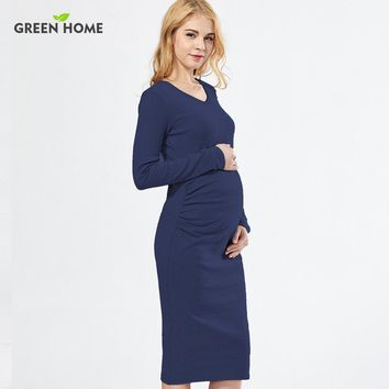 Green Home Solid Maternity Dresses Plus Size Pregnant Dress Spring Pregnancy Middle Dress Gravida Clothes for Pregnant Women