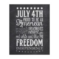 Independence Day 4th of July Chalkboard Canvas Canvas Prints