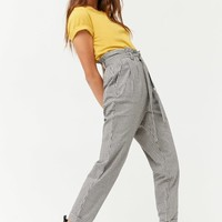 Gingham Paperbag-Waist Pants