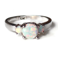 Sterling Silver and 3 Round White Opal Stone Ring