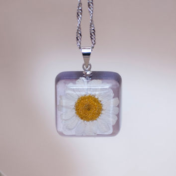 Chamomile pendant light blue square. Transparent  blue  resin, immersed real flower. Beautiful pendant with dried daisy flower.